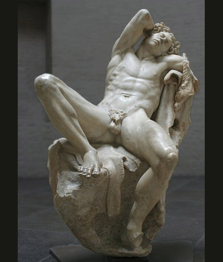 The sated Satyr. [<em>Sleeping Satyr</em>, marble copy of bronze original, unknown sculptor c. 200 B.C.]