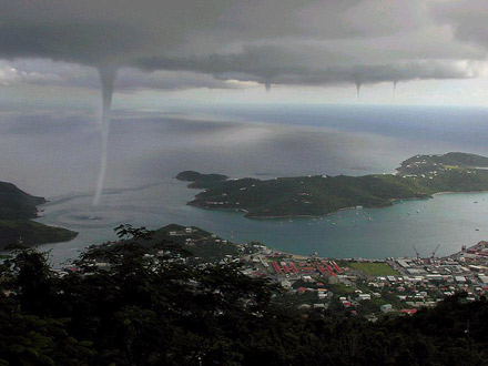 Waterspouts near St. Thomas. [CREDIT: Jan Havelka - OK1NU]