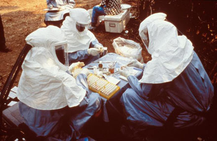 During a 1995 Ebola outbreak these CDC and Zairian scientists took samples from animals collected in Zaire. [CREDIT: CENTERS FOR DISEASE CONTROL AND PREVENTION]