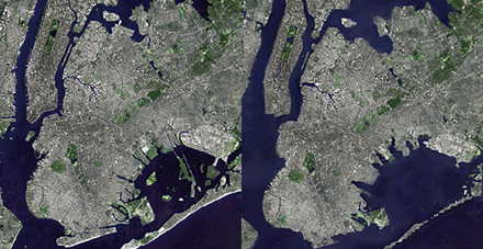 Manhattan before projected sea level rise (left) and after (right). [CREDIT: Daniel P. Schrag]