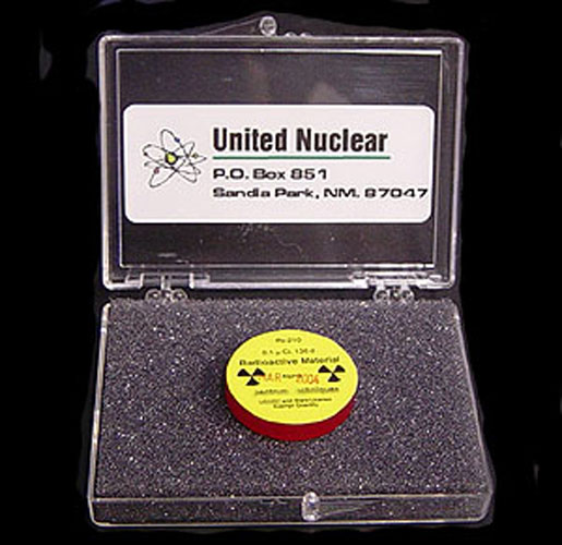 A sample of radioactive polonium. [CREDIT: UNITED NUCLEAR].