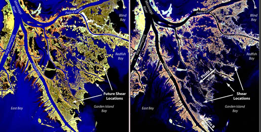 South Pass, LA before (left) and after (right) Hurricanes Katrina and Rita. CREDIT: [USGS]
