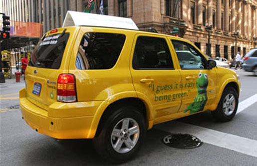 The Ford Escape Hybrid taxi cab in New York City. [CREDIT: ALLWORLD AUTO]