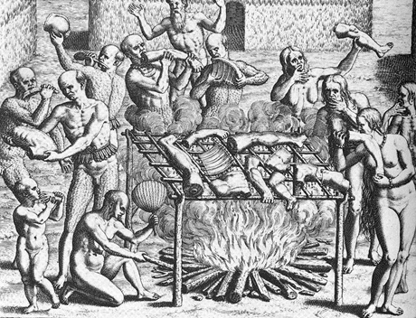 Cannibalism in Brazil in 1557, as described by Hans Staden and painted by Os Filhos de Pindorama.
