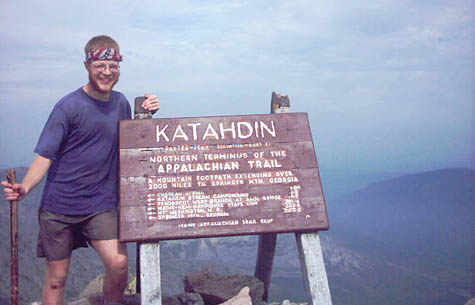 Phil Klotzbach, an avid hiker when not making hurrricane forecasts, stands atop Mount Katahdin, the northern end of the Appalachian Trail. [Credit: Phil Klotzbach]
