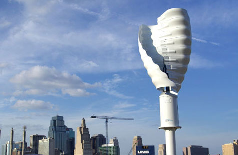 An urban helical turbine at work. [Credit: Helix Wind]