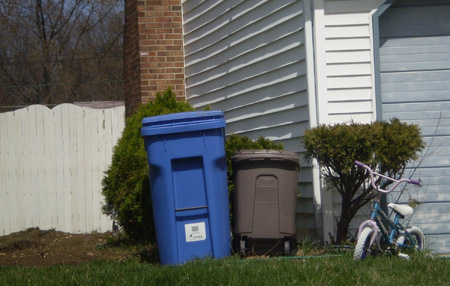 New bins pump up the recycling effort in Cherry Hill, New Jersey. [Credit: Natalie Peretsman]