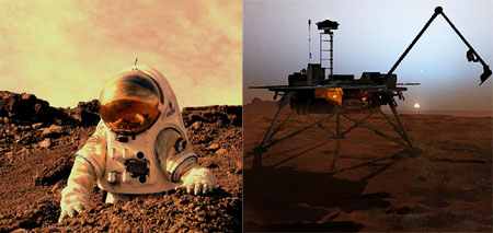 Man and machine both offer advantages in scientific exploration, but only one warrants a <br>memorial service if things go wrong. [Credits: NASA Haughton-Mars Project/Pascal Lee; <br>Corby Waste/NASA JPL/Caltech]