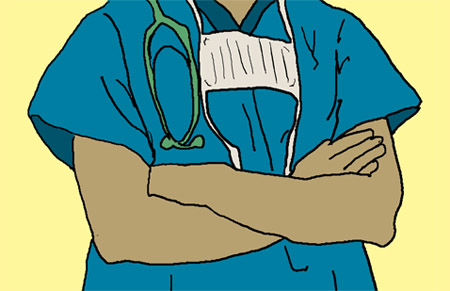 Snazzy green or blue scrubs may have substance in addition to style. <br>[Illustration: Molika Ashford]