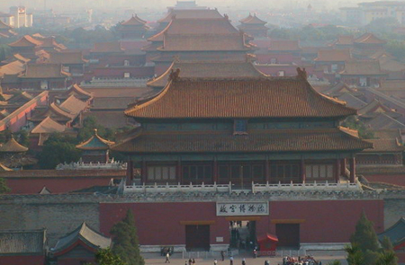 A haze settles over Beijing's Forbidden City in 2003.  For the 2008 Olympics, China has taken <br>temporary steps to beat pollution, but some say they should explore other options to find a <br>long-term solution. [Credit: Molika Ashford]