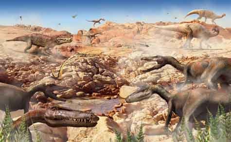 In this reconstructed scene from the Late Triassic a herd of primitive carnivores, Coelophysis, walk in <br>the foreground. Lurking in the background is a crurotarsan. [Credit: Stephen Brusatte]