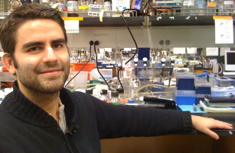 Alexis Gambis in the lab at Rockefeller University where he is finishing his graduate research. He is <br> surrounded by the fruit flies that inspired one of his science films.  [Credit: Lindsey Konkel and Carina <br> Storrs].