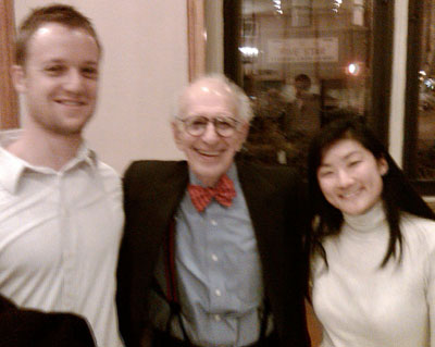 This blurry group photo is courtesy of a cellphone, taken at the 92Y in Manhattan Jan. 29. Left to right: Robert Goodier, Eric Kandel, Jeanette Chang.