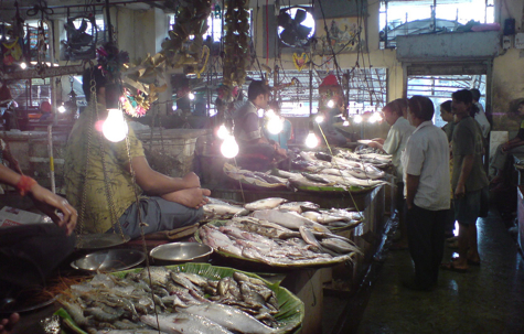 New research says that global warming will cause fish to migrate away from the equator, towards cooler <br> waters.  This will affect fishermen who sell their catches in markets like this one in Calcutta, India [Credit: <br> Prasenjeet Dutta, flickr.com].