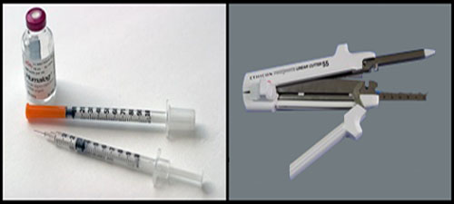 Some patients with type 2 diabetes may see an end to insulin injections (left) after having weight-loss surgery that involves stapling (right) the stomach. [Credit: Left-sriram bala, flickr.com; Right-ignis, wikimedia. Compiled by Carina Storrs]
