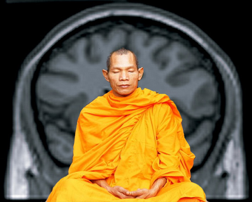 Scanning the brains of trained meditators, like the Buddhist monk pictured here, could help scientists solve mysteries about a major network in our brains. [Credit: Tevaprapas Makklay, P. Read Montague; Wikimedia.org. Compiled by Carina Storrs.]