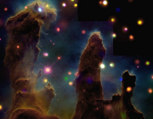 Digital images, such as this one of the Eagle Nebula from NASA's Chandra X-ray Observatory and the Hubble Space Telescope, are possible due to one of this year's Nobel prize winning inventions, the charge-coupled device.  The other winning discovery led to the widespread use of the technology transmitting this image: fiber optics. [Credit: Smithsonian Institution, flickr.com]