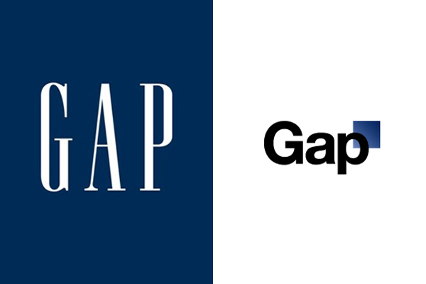 The original Gap logo and the redesigned one