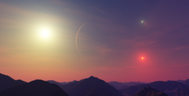 An artist's imagined rendition of the view from PH1, an exoplanet with four suns [Image credit: Dirk Terrell]