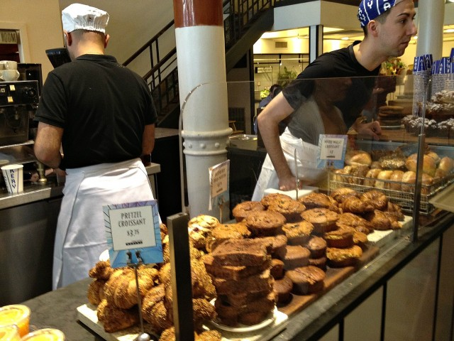 Sweets are piled high behind sneeze guards at The City Bakery. [Image credit: Amy Nordrum]