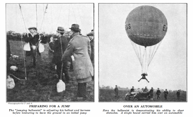 Photographs of early balloon jumpers. [Image credit: Scientific American]