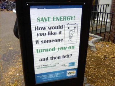 'SAVE ENERGY! How would you like it if someone turned you on and then left?'