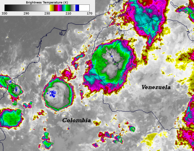 This infrared image shows the intense convection that occurs around Lake Maracaibo. The large central circle is the Relampago del Catatumbo. [Image courtesy of NOAA/CIRA VIIRS]