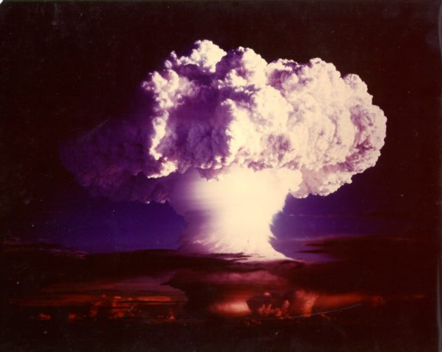 The mushroom cloud from the Ivy Mike test. The test created a few atoms of fermium. [Image via Wikimedia Commons | Public Domain]