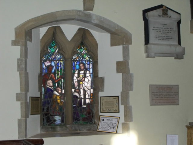 A chapel window in England commemorates Robert Hunt, a reverend and one of the four Jamestown founders whose remains were identified last summer. [Image credit: