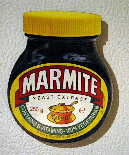 "Marmite, the English spread that uses the tagline ""love it or hate it"" in its advertising, is known for eliciting strong reactions, but they usually aren't about the fungi inside. [Image credit: Alez Juorio 