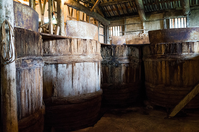 During the production process, soy sauce is left to ferment in traditional wooden vats. [Image credit: Joi Ito | CC BY 2.0]