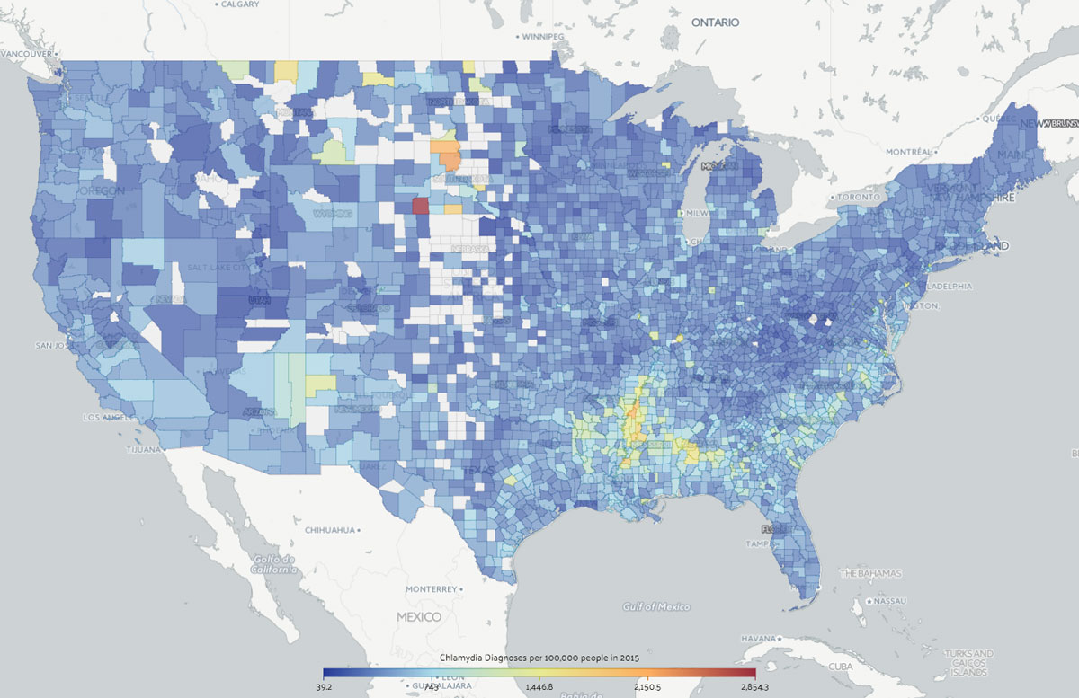 Chlamydia diagnoses per 100,000 people by county in 2015
