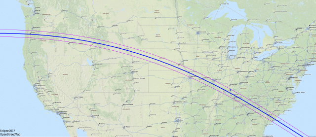 The path of the Great American Solar Eclipse. Viewers watching from areas crossed by the blue line will have the best experience. Outside the red lines, you'll only see a partial eclipse. [Image Credit: Wikimedia Commons/ Wolfgang Strickling | CC BY-SA 2.5]