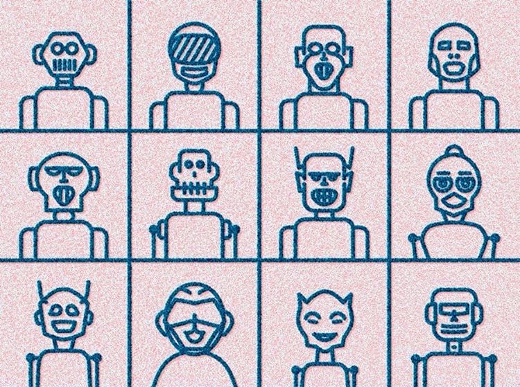 illustrations of 12 robot faces in a grid
