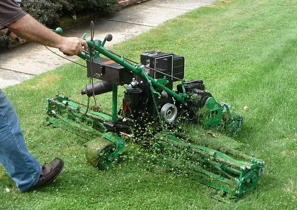 a person pushes lawnmower across grass