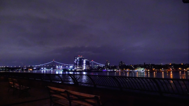 The skyline over the Hudson river at night