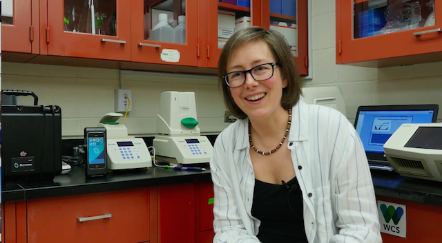 Tracie Seimon sits in her lab