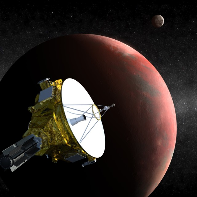 Artist's conception of New Horizons flying past Pluto and Charon