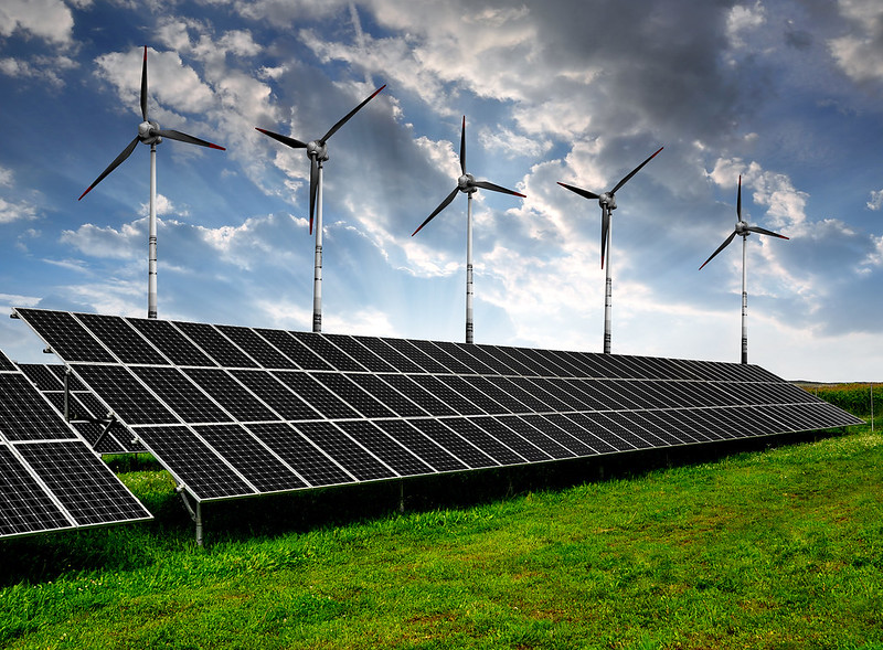 Lithium-ion batteries are used for storing electricity in solar panels and wind turbines.