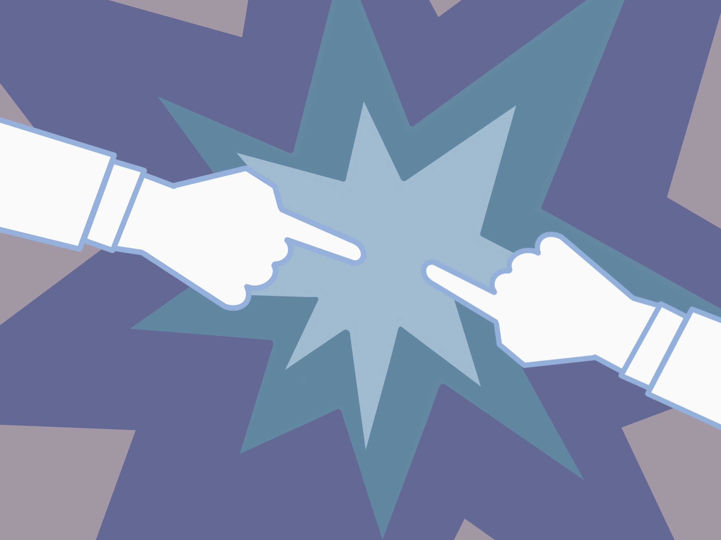 Digital illustration of two hands pointing at each other with a starburst in the background