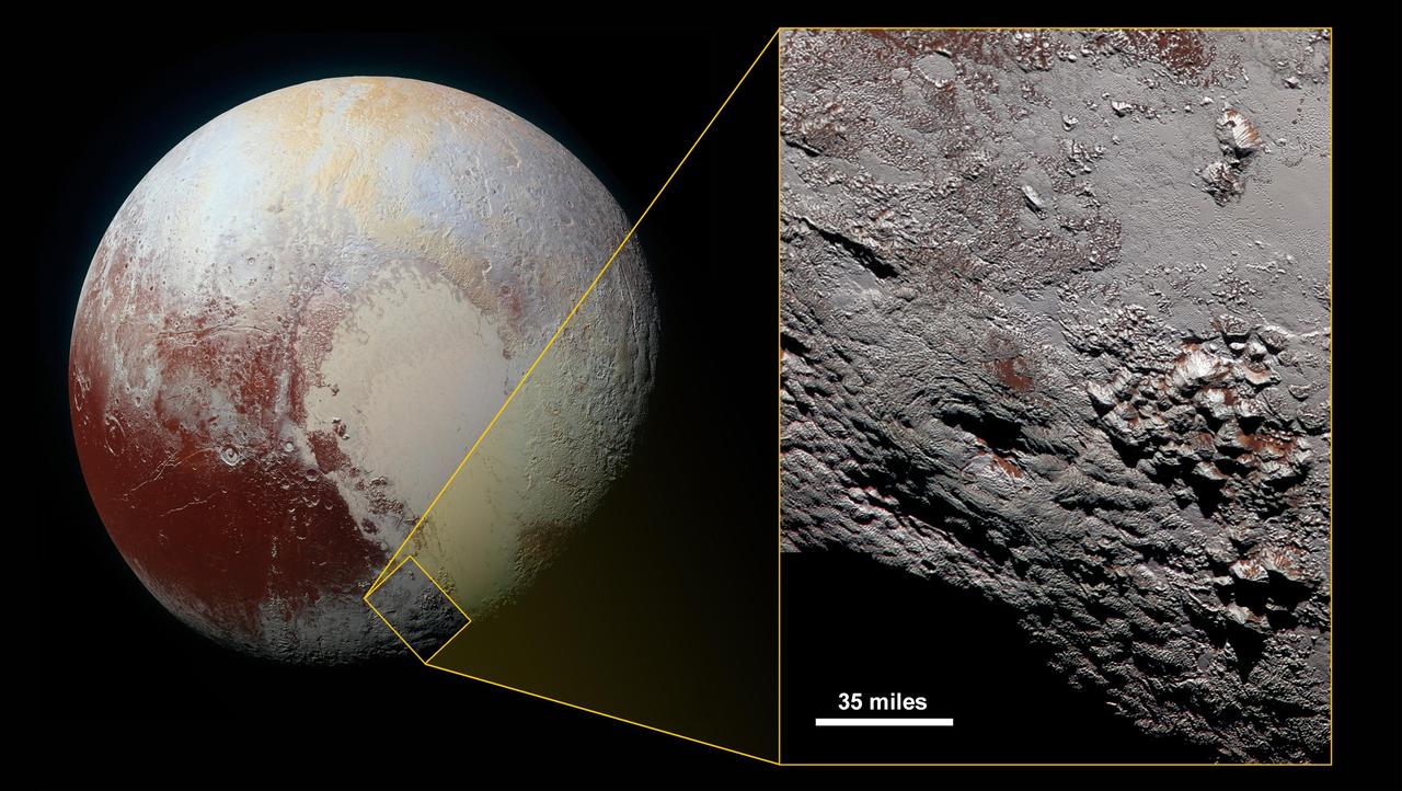 New Horizons image of Pluto, zoomed in on a feature called Wright Mons