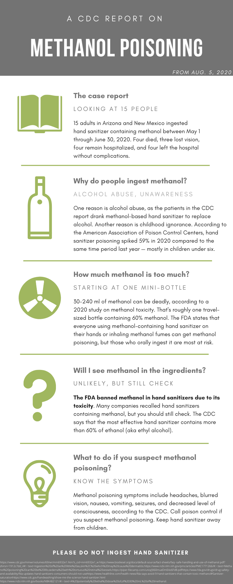 infographic of methanol poisoning case report