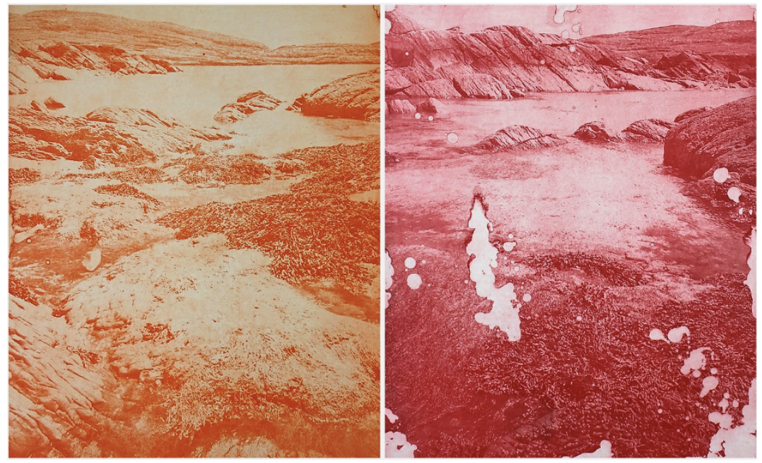 "Two of Angela Gilmour's etchings show how natural and man-made events damage landscapes. ""Toxic Wednesday"" (left) shows what happens when dust clouds from the Saharan desert collide with an Atlantic weather system and pollution. The result is a toxic smog with an orange to red hue that hangs over the United Kingdom. ""Blood Rain Thursday"" (right) shows the dust and smog released as blood red rain. [Credit: Angela Gimour]"