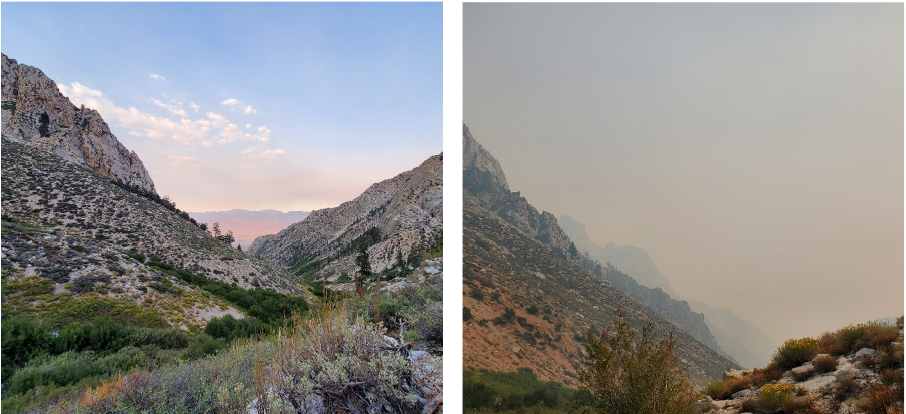 Two pictures of the same rocky, high desert view side-by-side. On the left, the sky is blue and clear. On the right the air is yellow with smoke, visibility is reduced, and the sky is grey.