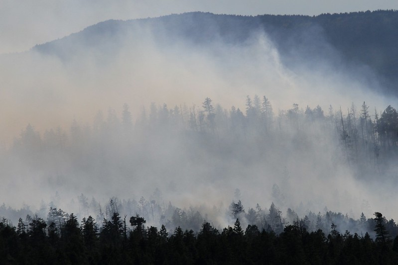 Smoke rises from trees on mountain ridges