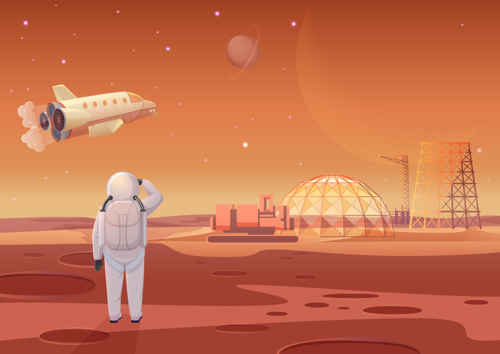 An animated astronaut surveys her home on Mars while a space shuttle lifts off.