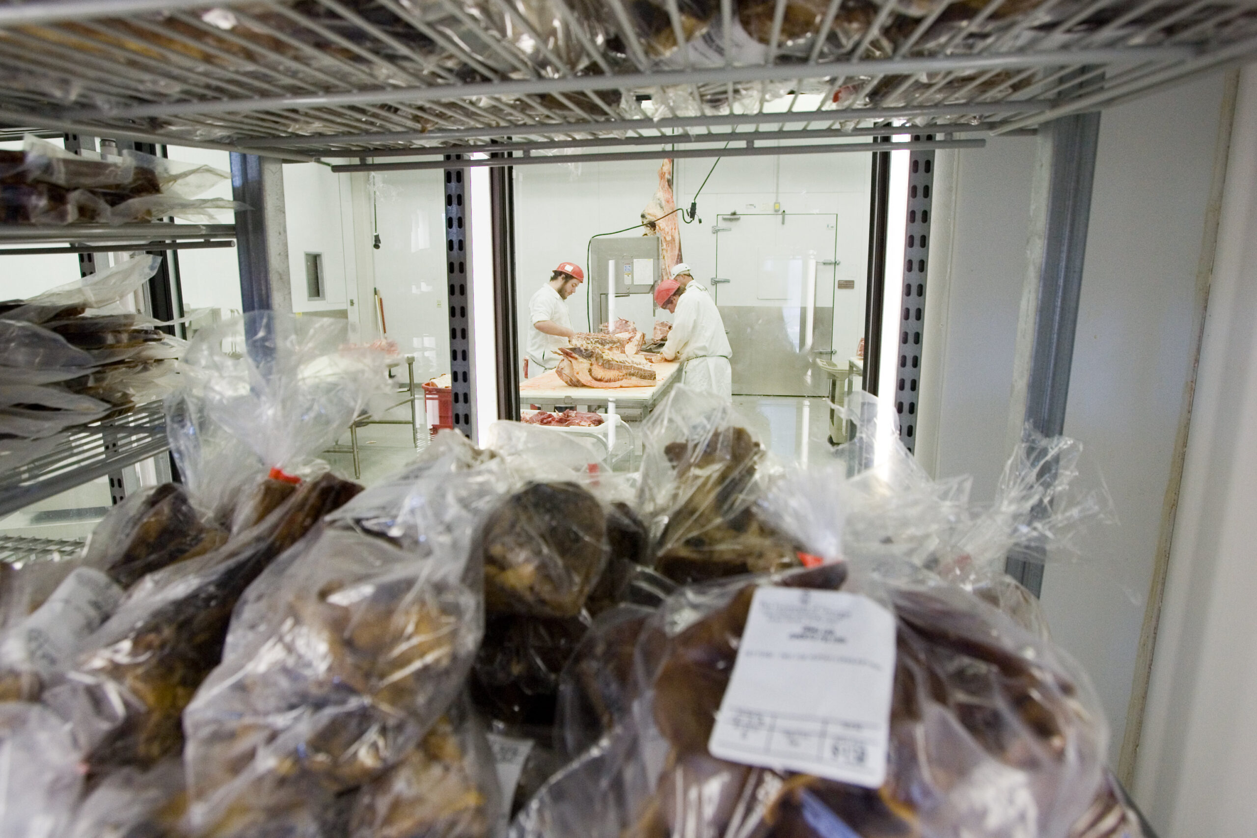 Meat processed in a meat-processing facility