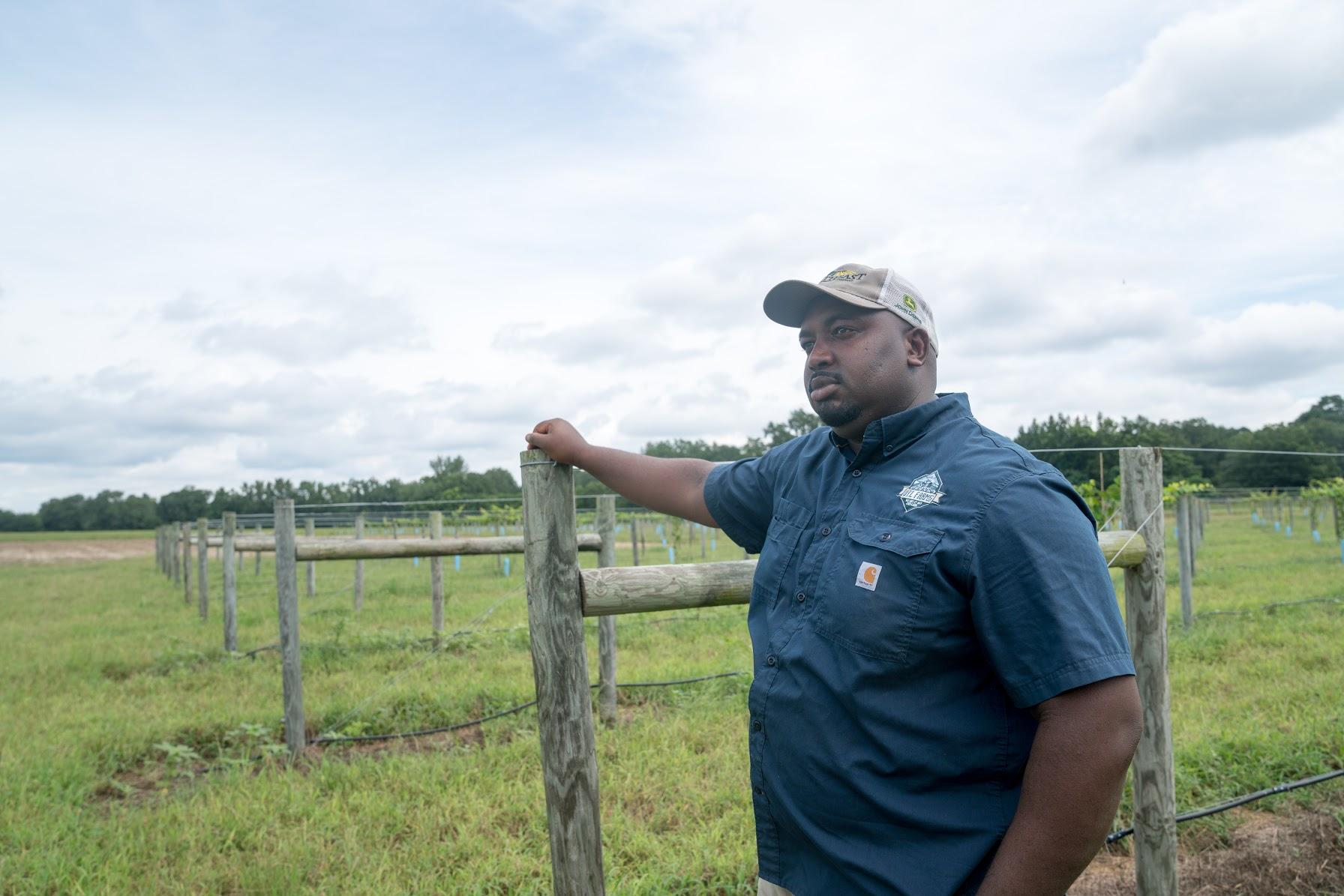 Davon Goodwin on his farm in Laurinburg, North Carolina