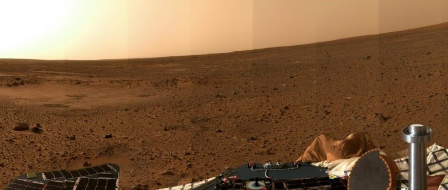 A panoramic image of the surface of Mars taken by the Spirit rover.