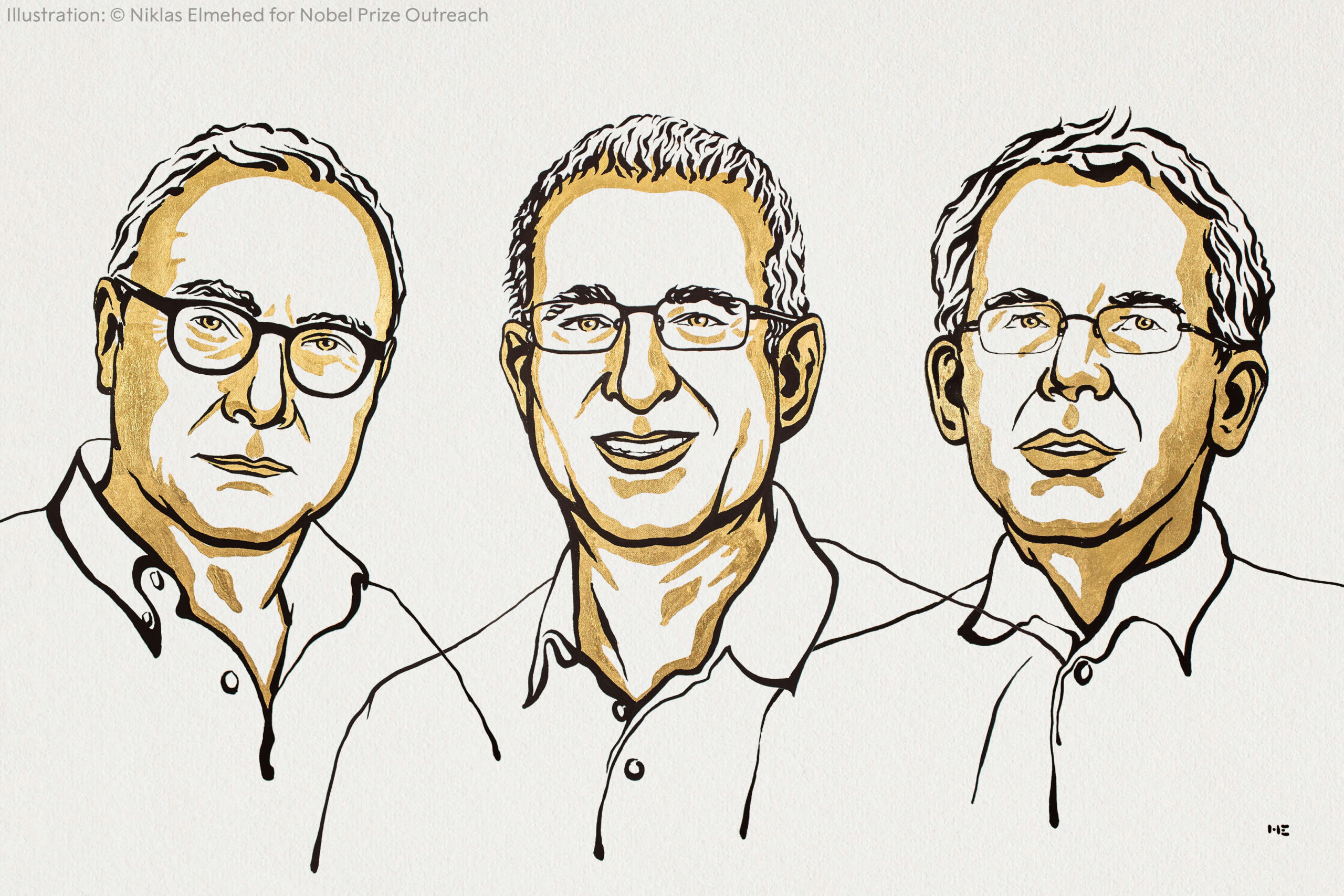 Line drawing of the three winners of the 2021 Nobel Prize in Economics.